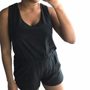 Black Open Back Short Romper Size L / XL